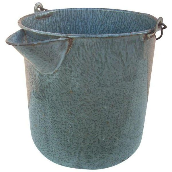 Vintage Gray Graniteware Water Bucket (235 CAD) ❤ liked on Polyvore featuring home, kitchen & dining, kitchen accessories, vintage kitchen accessories, grey kitchen accessories and vintage bucket