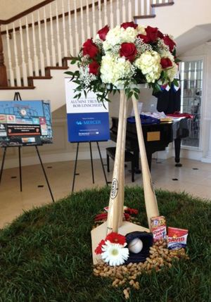 Baseball Theme Table Centerpieces | Baseball Bat Wedding Reception Table Centerpiece with home plate base ...