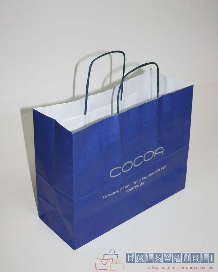 Bolsapubli - Bolsa klein con asas rizadas en color azul e impresa en color plata.