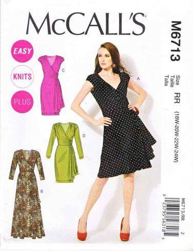 McCalls Sewing Pattern 6713 Womens Plus Size 18W-24W Easy Pullover Knit Mock Wrap Dress #sewing pattern #womens plus size  $14.99
