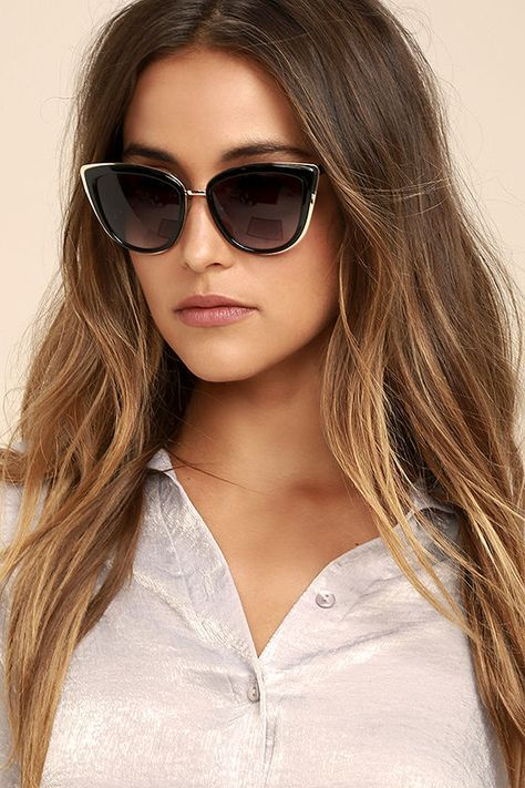 bd10a3aecd The Living it Up Black Cat-Eye Sunglasses are no stranger to the good life!  Sleek black cat-eye frames with black-tinted lenses are trimmed in shiny  gold.