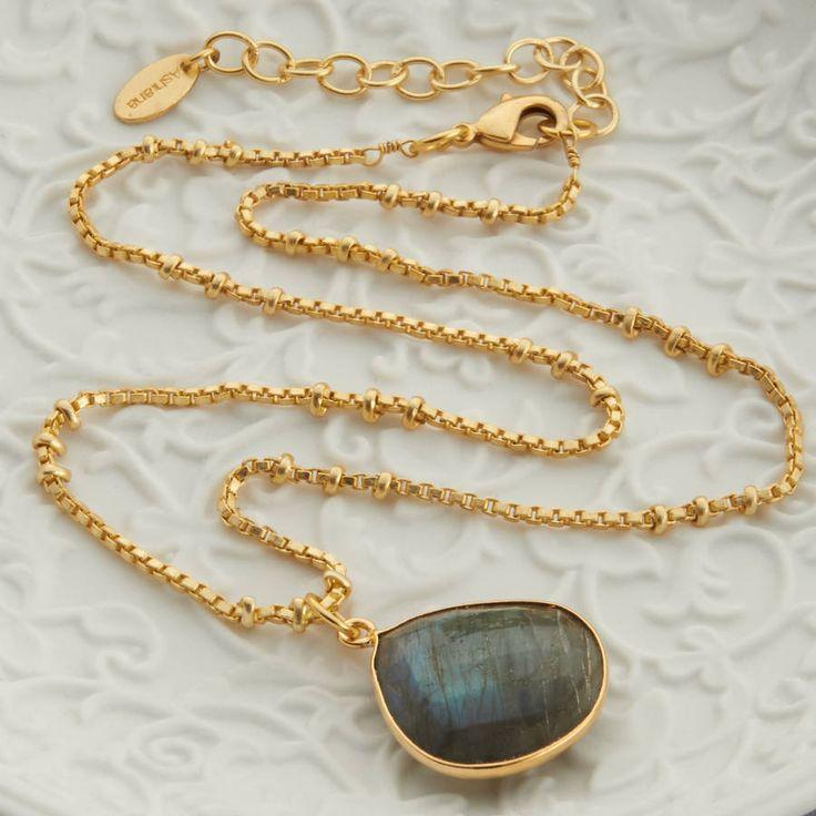 Gold And Labradorite Drop Necklace