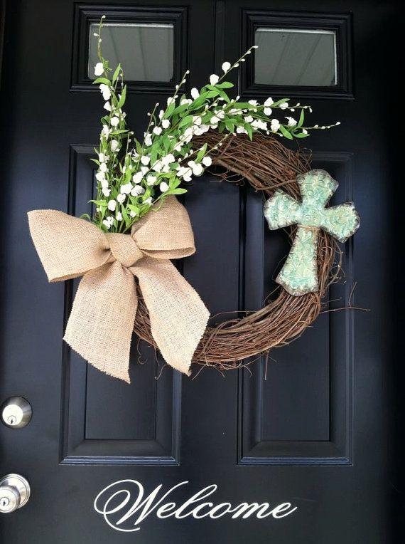 Religious wreath- Easter wreath- spring wreath- Cross wreath - spring decor - door wreath on Etsy, $47.00