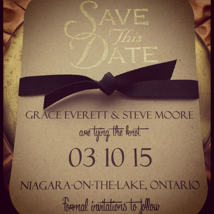 Sweet and simple save the date! This bold, black knot adds charm to this rustic brown, black and gold card!