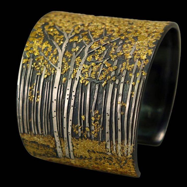 "671 aprecieri, 23 comentarii - Погремухи (@pogremuhi) pe Instagram: ""Bracelet ""Aspen Grove"". Silver with fused various gold and unrefined placer gold from Yuba River,…"""