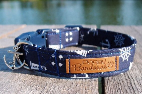 Anchor Dog Collar White and Navy Anchor and Helm Dog by DoggyBanda