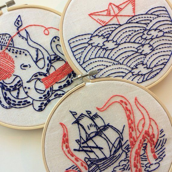 "Complete Embroidery Kit: ""Deep Dive"" whale, sperm whale, ocean, nautical, maritime, beach, fish, DIY"
