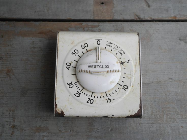 Vintage cooking timer, Westclox farmhouse kitchen white timer, rustic farmhouse kitchen cooking timer, weathered shabby chic kitchen decor by TeaStainedLace on Etsy