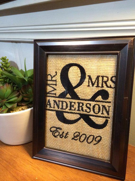 Personalized burlap wedding anniversary by MamasLittleWorkshop