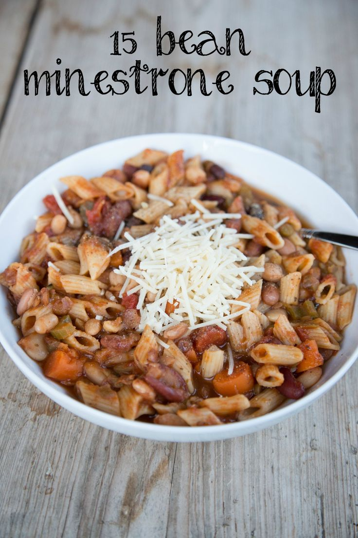 This simple Minestrone soup recipe, is made from a 15 bean soup mix and is loaded with protein. So hearty and filling! | 5DollarDinners.com