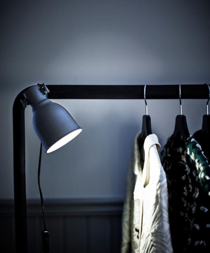 hektar klemspot ikea ikeanl verlichting lamp industrieel led garderobe spot wandlamp. Black Bedroom Furniture Sets. Home Design Ideas