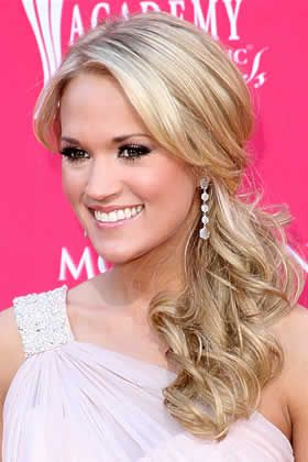 carrie underwood side pony. Perfect for bridesmaids! But have the hair on the other shoulder.