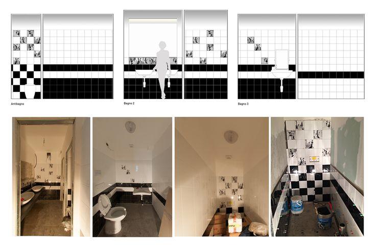 Ristorante Macello: Le toilette: modello per ceramiche dipinte a mano divertente | Macello Restaurant: Toilets: pattern design for funny hand painted ceramics