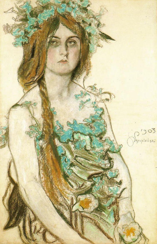 Stanisław Wyspiański,  Portrait of the Actress   Wladyslawa Ordon-Sosnowska,   1903 I love that she's not smiling.