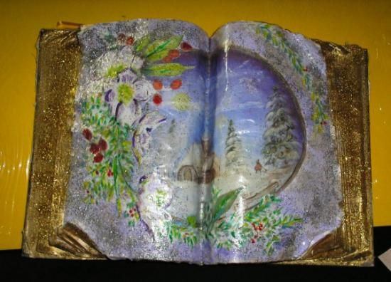 libro anticato di natale libro agenda,fogli per decoupage,brillantini d'oro decoupage,pittura acrilica