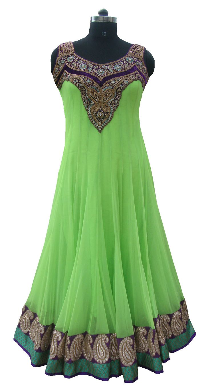 Light green color floor length anarkali suit colors for Floor length suits