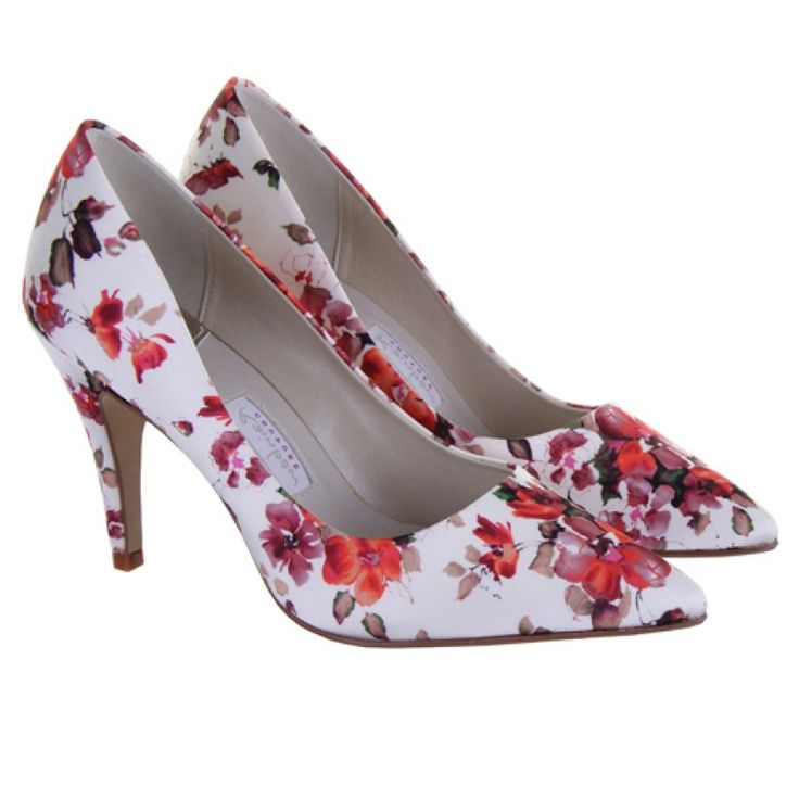 Valentina - Pre-Order - This gorgeous shoe is a classic point stiletto party shoe with the gorgeous summer floral satin and is gorgeous for any bridal party member! Looking for something in plain satin rather - we also have Vivian.  This shoe really is perfect for the bride, bridesmaids or mother of the bride or as a great Ascot shoe!  Valentina is a great shoe with a matching handbag - Satina. £95.00