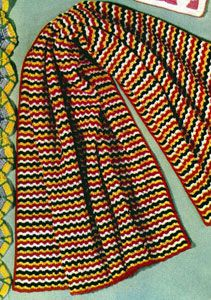 Navajo Afghan crochet pattern from Afghans & Matching Pillows, originally published by Coats & Clark, Book 505, in 1954.