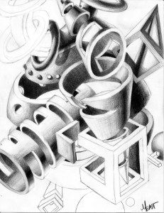 """Sliced & Diced Form Drawing - High School Art Lesson – Students will draw the 6 Basic 3D forms: Sphere, Cylinder, Donuts, Cone, Pyramid, & Cube/Rectangular Prism. They will learn how to accurately """"slice"""" through the forms to see inside them and render with full shading. They will then create a composition using cuts and slices of the 6 basic shapes."""