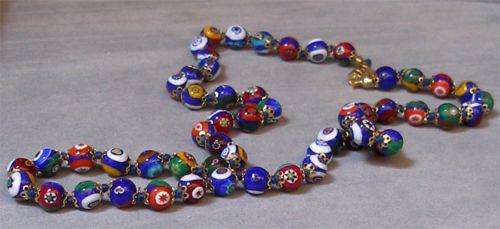 Vintage-Murano-Glass-Beads-MILLEFIORI-CLASSIC-NECKLACE