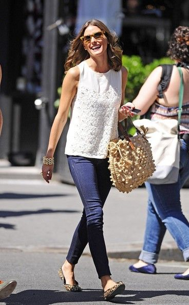 Olivia with flats... Chic!