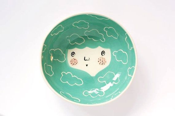 Face bowl in Green color ceramic serving by MarinskiHandmades, $35.00