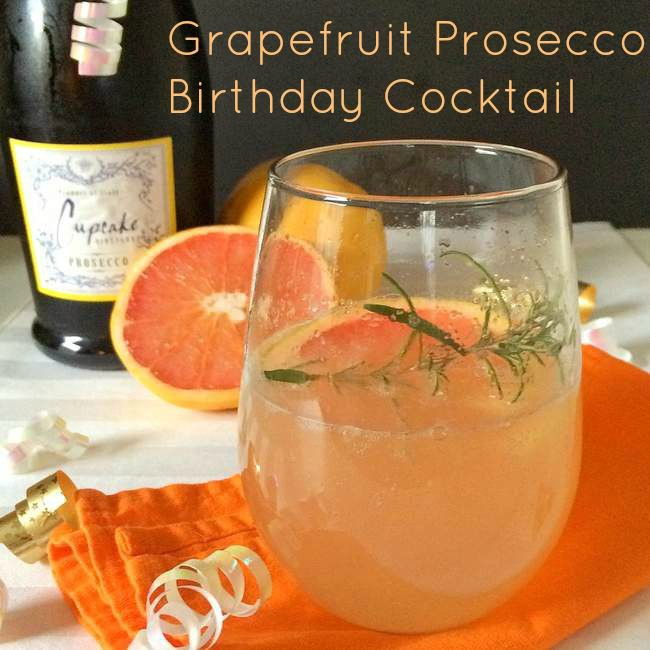 Grapefruit Prosecco Birthday Cocktail | TeaspoonOfSpice.com Perfect for any winter celebration or just a regular night when you need a burst of sunshine.