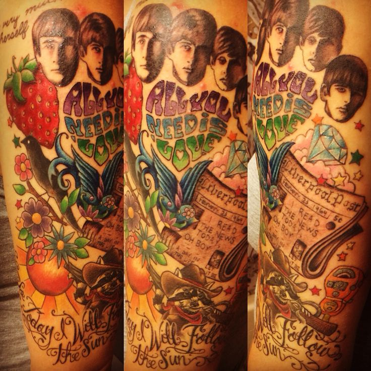 Beatles themed sleeve done by Jessica Smith at Funhouse Tattoo in Tannersville, PA