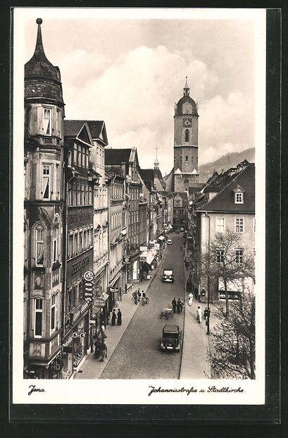 Alte Ansichtskarte: AK Jena, Blick in die Johannisstraße mit Stadtkirche