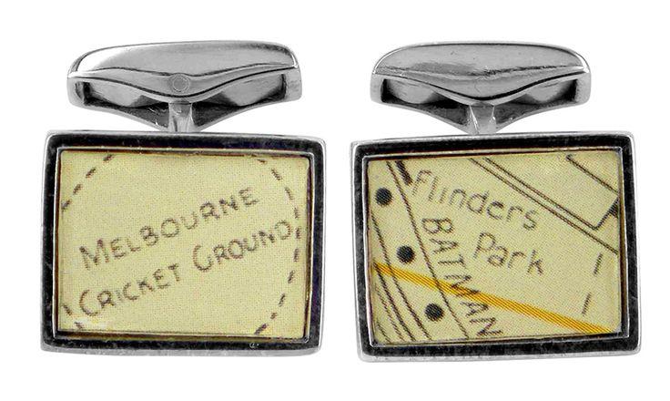 MCG and flinders park vintage street directory cufflink
