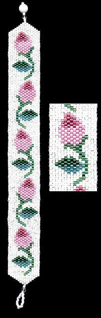 Pink Rose Beaded Bracelet