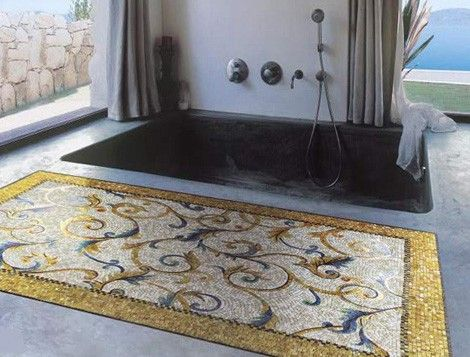 """Mosaic """"rug""""   for tub and shower would be cool!"""