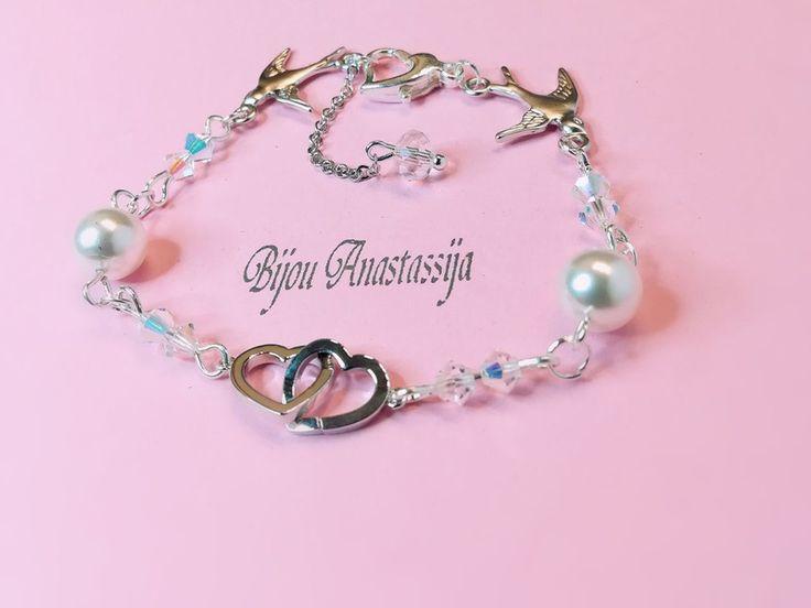 Armbänder - Armband Kette Silberkette mit Herz Vögel Swarovski - ein Designerstück von BijouAnastassija bei DaWanda