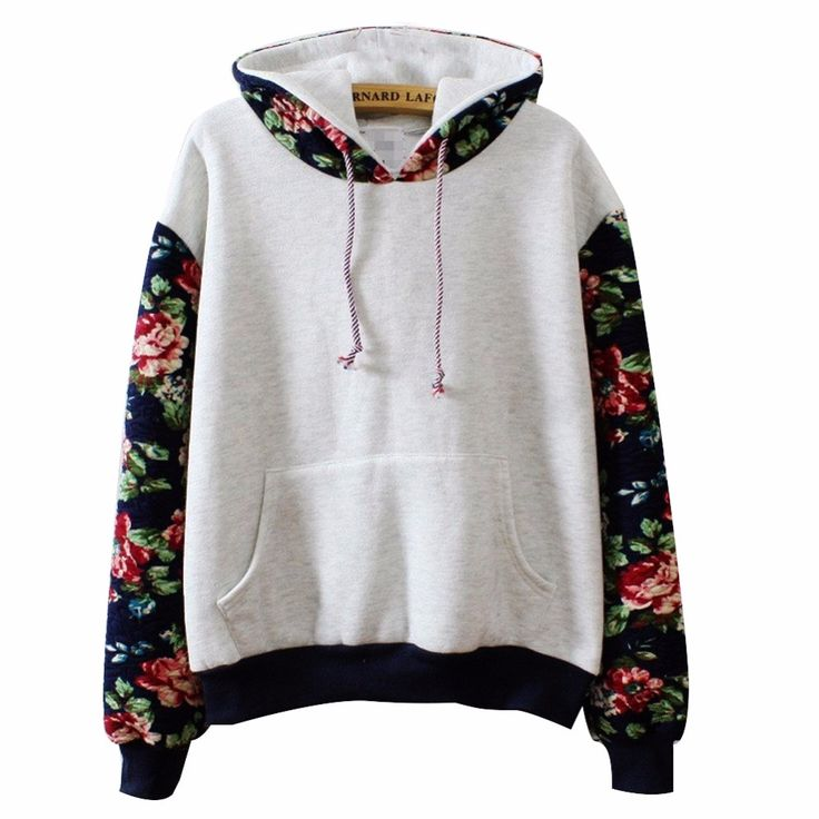 Plus Size S-XL 2016 Winter New Women Long Sleeved Sweatshirt Loose Long Sleeved Thick Tops Patchwork Print Flower Hooded Hoodies