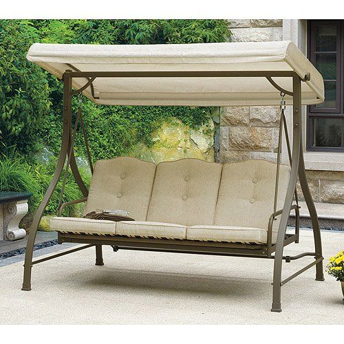 Outdoor swing hammock tan seats 3 porch patio for Extra wide swing seat