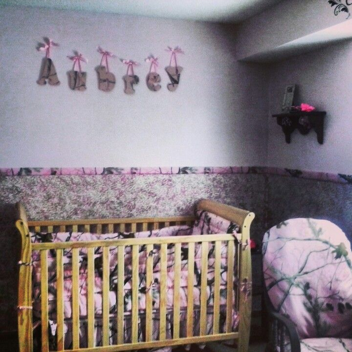 Pink realtree camo baby girl bedroom nursery girl for Camo kids bedroom ideas