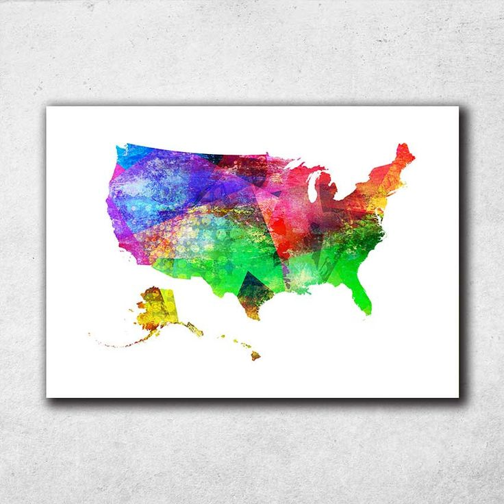 US Map Print, USA Print, United States Poster, USA Map, Nursery Decor, Watercolor Map, Room Decor, Map Poster (706) by PointDot on Etsy