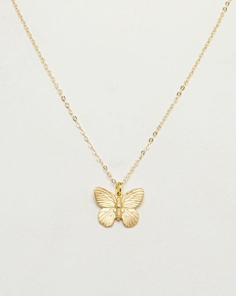 Matte Gold Butterfly Pendant Necklace