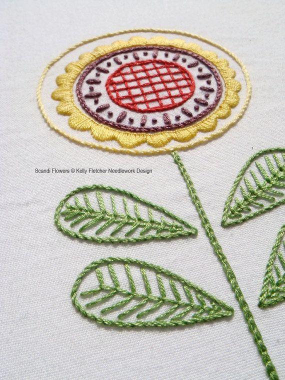 Scandi Flowers modern Scandinavian hand por KFNeedleworkDesign