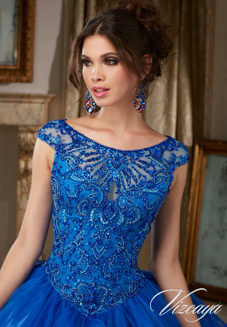 Morilee Vizcaya Quinceanera Dress 89117 JEWELED BEADING ON FLOUNCED ORGANZA BALL GOWN  Matching Stole. Available in Red, Royal, White (Color of this dress): Royal