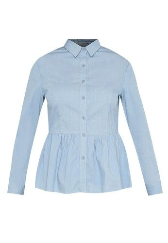 - Blus- Katun- Warna biru- Detail kerah- Desain peplum- Lengan panjang- Detail roll up sleeve- Kancing depan- Regular fit- UnlinedUkuran pakaian normal, pilih sesuai ukuran Anda biasanya