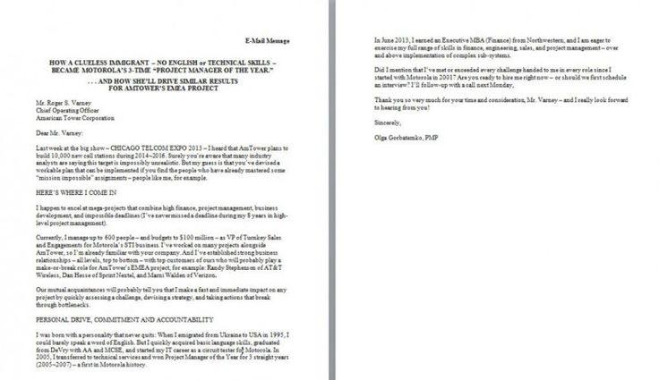 plain text cover letter format