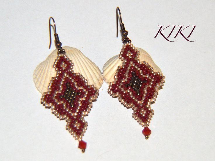 Stylish dark red gold and bronze peyote earrings by KikisBeadArt