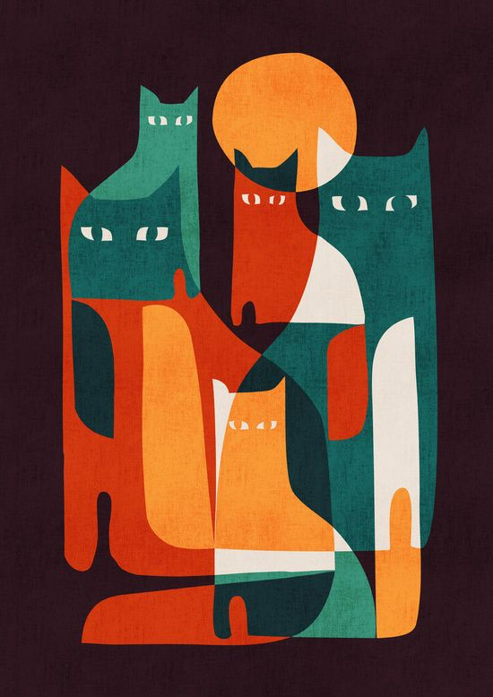 Cat Family art work by Budi Kwan #artprints