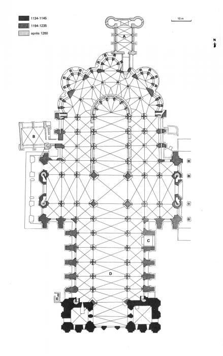 Cathedral Chartres, France. Floorplan.