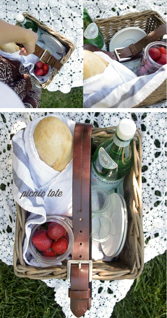 Create a DIY Picnic Tote (add a leather belt to your woven basket/hamper)|
