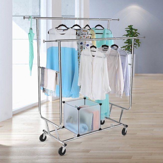 Clothing Rack Collapsible Adjusts Double Rail Rolls Garment Drying Bedroom Foyer Floureon With Images Garment Racks