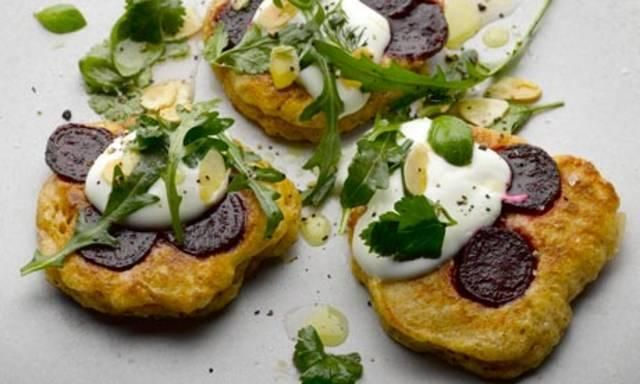 Yotam Ottolenghi's spiced beetroot blinis: They taste as good as they look. Photograph: Colin Campbell for the Guardian