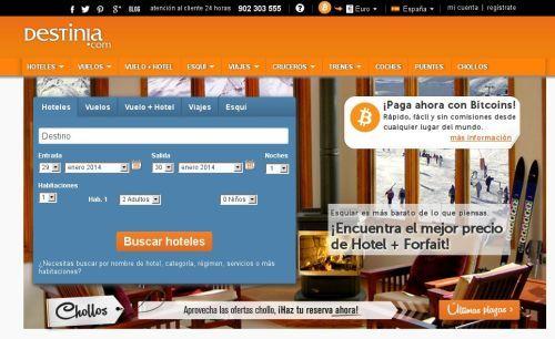 Destinia La primera Agencia de Viajes Online en aceptar los Bitcoins.