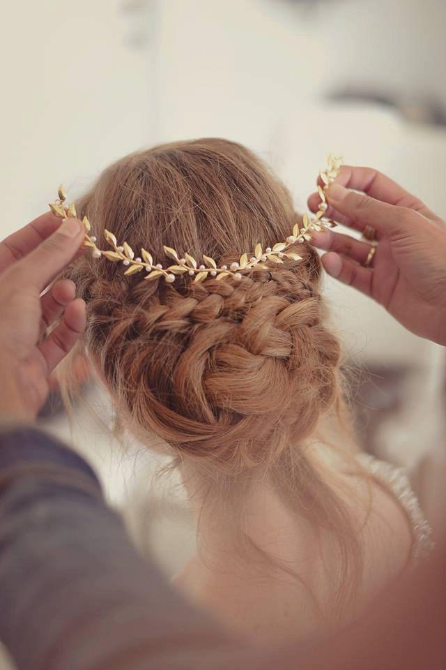 bridal Hair accessories , Brides Headpieces , Gentle Gold Leafs Hair Wreath…